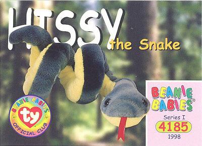 - SLITHER the Snake Series 1 Retired TY Beanie Babies BBOC Card BLUE NM//M