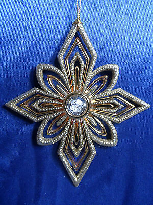 Platinum and Gold Snowflake with Jewel Christmas Tree Ornament new