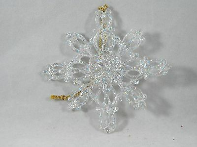 Clear Glittered Snowflake Christmas Tree Ornament new holiday