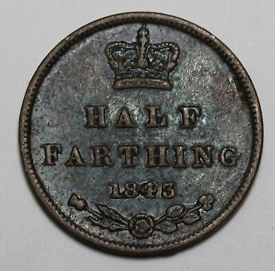 1843 UK Half Farthing Queen Victoria Nicely Toned  KM# 738, Sp# 3951