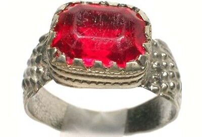 Antique 18thC Russia Ukraine Crimean Tatar Silver Ring Ruby Red Glass Gem Sz 11¼