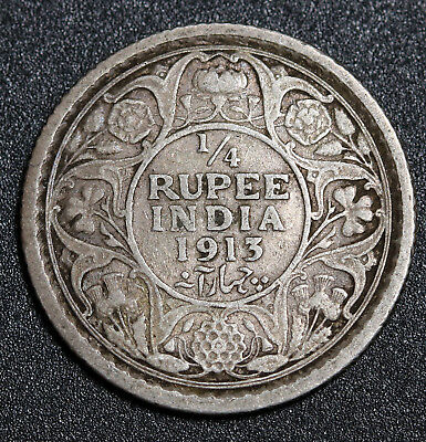 1913 India Silver 1/4 Rupee  George V Coin