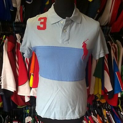 Sky Blue 100% Cotton Polo Shirt #3 Ralph Lauren Jersey Size Adult S