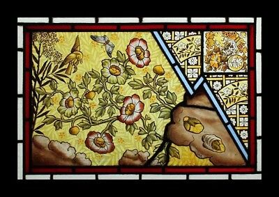 Rare Painted Arts & Crafts Bird Butterflies & Flowers Stained Glass Window