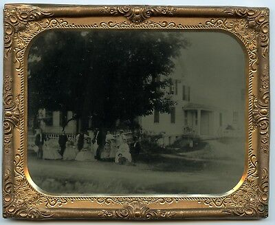 1/2 Plate Exterior Tintype  Homestead Farmhouse w/ 14 Men,  Women & Children