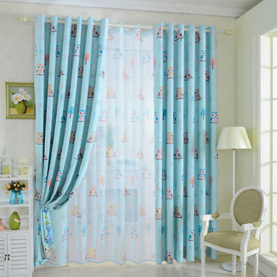 Grommet Blackout Solid Sheer Window Curtains Voile Panels Owl Bird Home Decor 1x