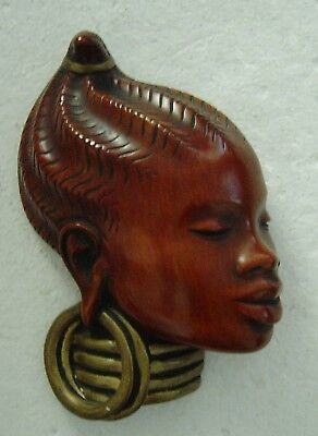 vintage 50s Achatit Peter Ludwig African Ethno Lady wall mask 6018