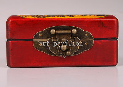 Red Flowers Adorn Leather Jewelry Gift Box Collectable
