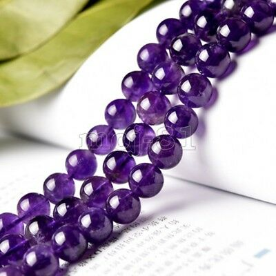 "8mm Natural Purple Jadeite Jade Round Gemstone Loose Beads 15"" Strand AAA"