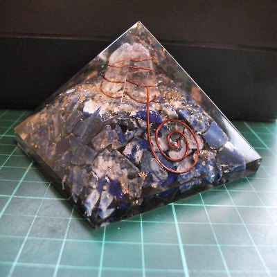 Auction Orgonite Tourmaline Chips Crystal Pyramid EMF Energy Protection 70mm