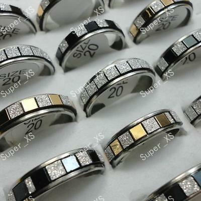 10pcs Stainless steel Frosted Mixed Rings Wholesale Jewelry Lots  Free shipping