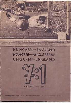 1954 Football Hungary v England commemorative programme from 7:1 victory