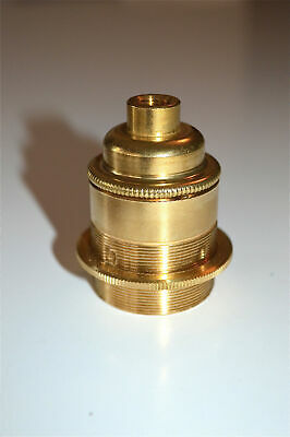 UK made solid brass E27 Eddison screw in bulb holder with shade ring 10mm entry