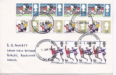 GB 1966 Football World Cup first day cover, stamps strip of four