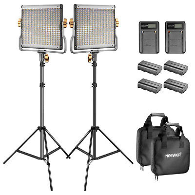 Neewer 2 Kit di Luce 480 LED Bicolore con Stand & Batterie & Caricabatterie