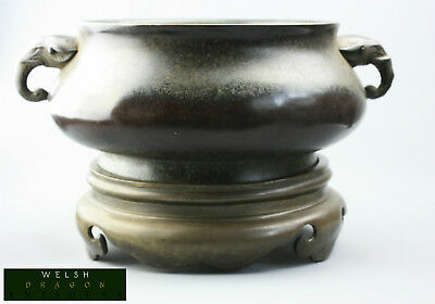 Fine Museum Quality Antique Chinese Bronze Censer On Stand Xuande Mark Rare