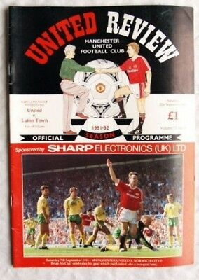 1991 programme Manchester United v. Luton Town