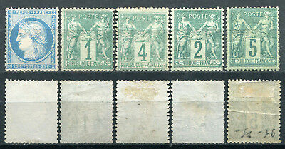 FRANCE 1874/76 BEAU LOT de 5 timbres NEUF(*) MNG  Cote 355,00 €