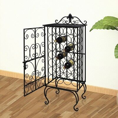 S# 28 Bottles 111cm Metal Wine Cabinet Storage Table Rack Holder Home Bar Organi
