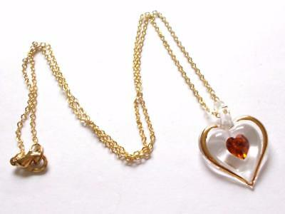 Vintage 80's Clear Blown Glass Love Heart Amber Crystal Pendant Gold Tone Chain