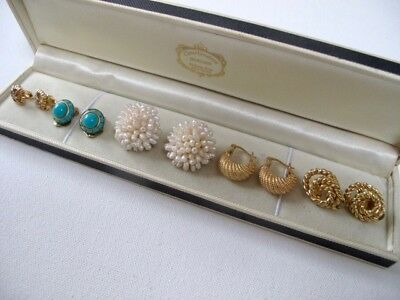 Job Lot Earrings Clip ons Hoops 9ct Gold Plated NINA RICCI Freshwater Pearls