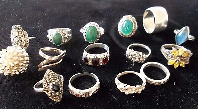 Mixed Lot Of 15 Vintage Marked 925 Silver Plain And Dress Rings