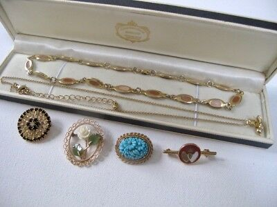 JobLot 9ct Gold Plated Vintage Antique Jewellery 4 Brooches 2 Necklaces Diamante