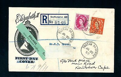 1957  Southampton to Tristan Da Cunha    Registered Cover    (O1423)