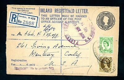 1958  Wilding Registered Cover London to USA     (O1407)