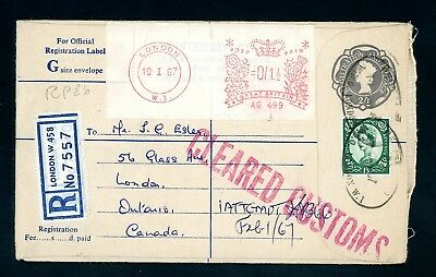 1967  'Cleared Customs'  Registered Cover  to Canada     (O1392)