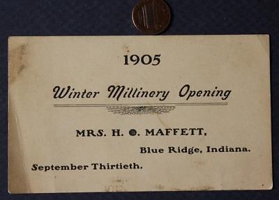 1905 Blue Ridge,Indiana Winter Millinery Women's Hat Store Opening business card