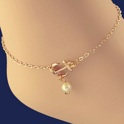 Charm Anklet Anchor*White Pearl Bead Bracelet Ankle Foot Sandal Chain Beauty YG
