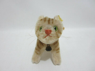 STEIFF Cat Tapsy w Button Stock Tag Ribbon Bell 1950s Miniature Green Glass Eyes