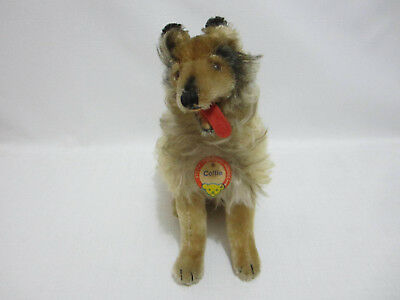 STEIFF Big Sitting COLLIE Dog w Chest Tag Felt Open Mouth 1960s Vintage