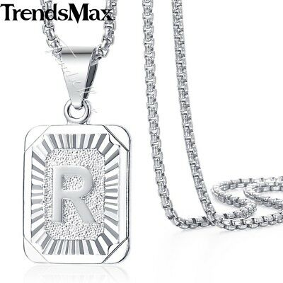 """White Gold Plated Initial Letter A-Z Pendant Necklace Stainless Steel Chain 22"""""""