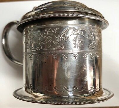 Antique Victorian Solid Sterling Silver Mustard Pot - Atkin Bros 1876-Sheffield