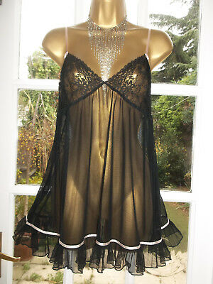 Vtg Style Presence Ultra Sheer Lacy Satin Bows Mini Babydoll Short Nightie UK18