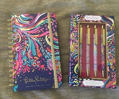 Lilly Pulitzer 17 Month Agenda And Set Of Four Pens, All Brand New With Tag