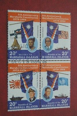 Constitution 5th Anniversary Marshall Islands 1984 Block Of Four Stamps VFU