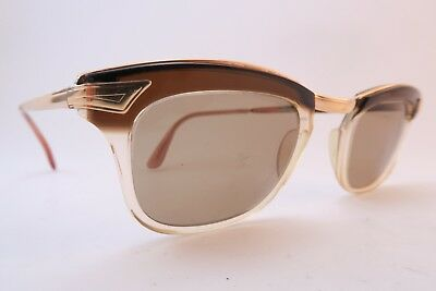 Vintage 50s sunglasses gold filled ANJOU brown brow made in France
