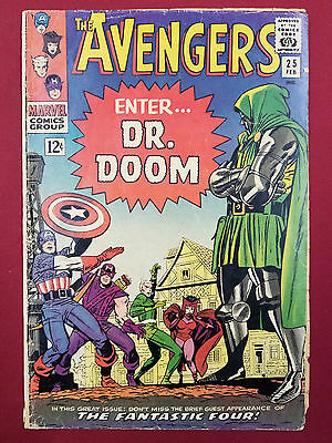 1965 THE AVENGERS ISSUE #25 ENTER DR DOOM COMIC BOOK * Fantastic Four *Fast Ship