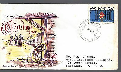 1967 Australia First day cover Christmas  5c Bells & Arches stamp Red lettering