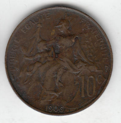 France 10 Cents 1906 Marianne Copper        148A            By Coinmountain