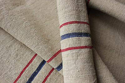 Vintage GRAIN SACK fabric material linen red blue 2.85 YDS old upholstery washed