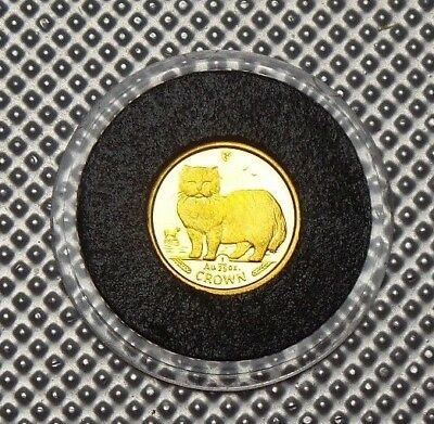 1989 Isle Of Man 24 Carat Gold Crown 1/25 Oz Coin Persian Cat & Cert