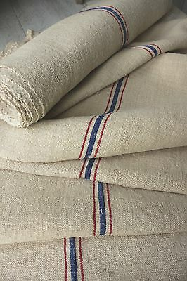 Grain sack grainsack fabric vintage linen 9.2YD upholstery HEMP RED + BLUE blue