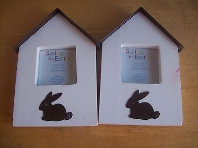 """Set Of 2 Spring Into Easter 3"""" X 3"""" Picture Frames"""