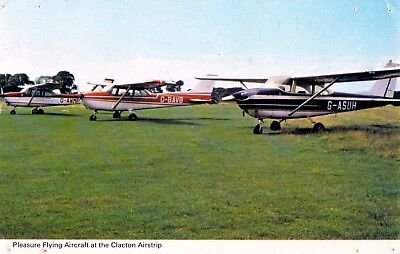 Postcard - Pleasure Flying Aircraft at Clacton Airstrip, Essex. Unposted.