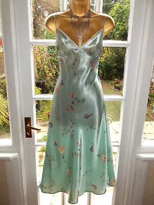 Vintage Style British Home Stores Glossy Satin Lacy Slip Nightie Gown UK14