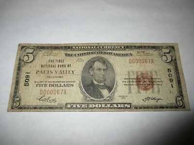 $5 1929 Pauls Valley Oklahoma OK National Currency Bank Note Bill Ch. #5091 FINE
